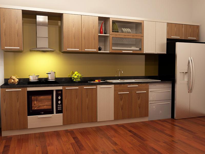 mẫu tủ bếp vật liệu gỗ có vân tôn lên vẻ đẹp căn bếp, tạo cảm giác sang trọng cho căn nhà bạn