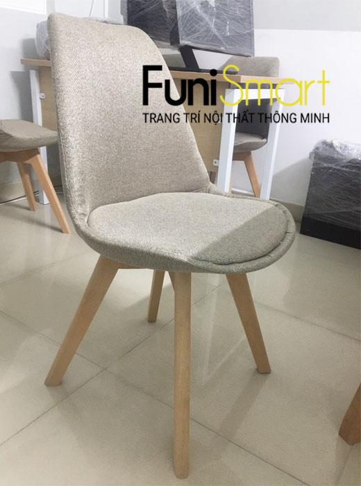 Chi tiết ảnh ghế ăn chân gỗi sồi tự nhiên vải bố FuniGH01
