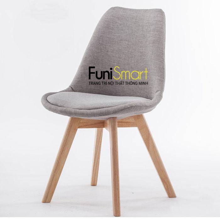 Ghế ăn chân gỗi sồi tự nhiên vải bố FuniGH01