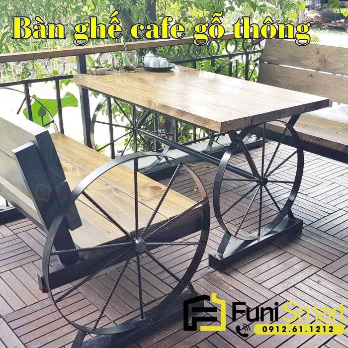 Bàn ghế cafe gỗ thông đẹp FNCF04