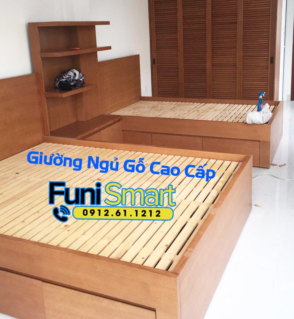 Chi tiết hình ảnh giường ngủ gỗ tự nhiên cao cấp Funismart FNGN14