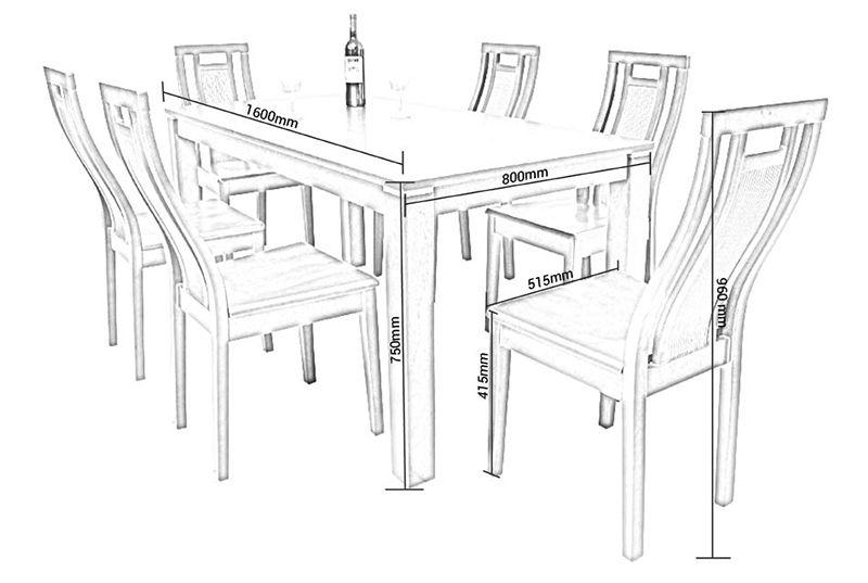 Chi tiết kích thước bàn ăn 6 người ngồi