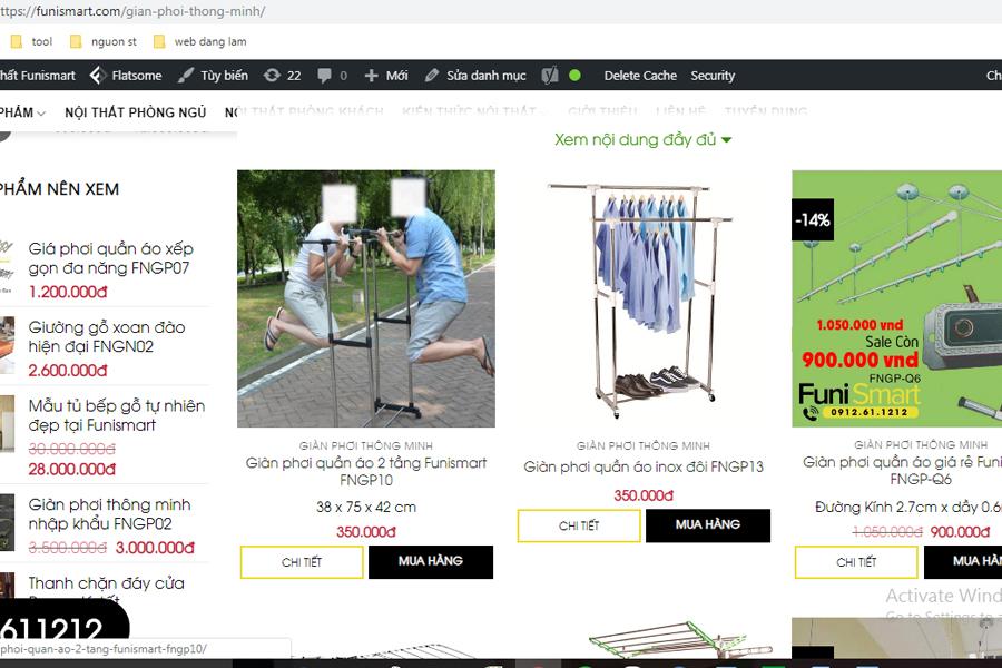 Phần danh mục xem giá hình ảnh các sản phẩm