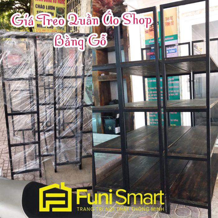 Giá treo quần áo shop bằng gỗ GT01