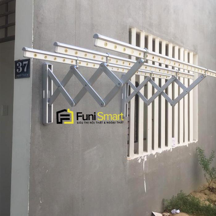 Giàn phơi gắn tường xếp gọn Nhôm dày cao cấp FNGP30