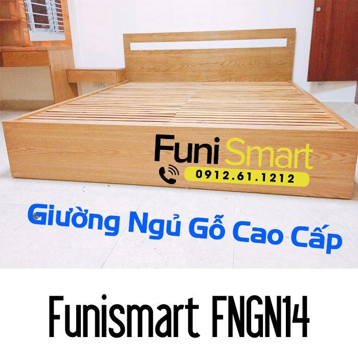 Giường gỗ cao cấp gỗ tự nhiên Funismart FNGN14