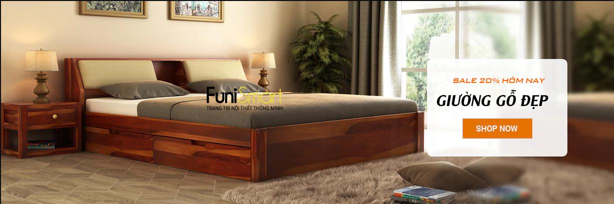 Giường Gỗ Đẹp Cho Phòng Ngủ Xinh