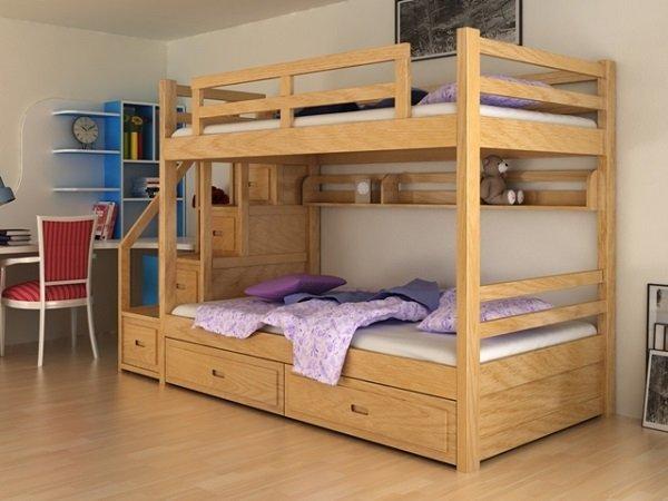 Giường gỗ sồi Nga 2 tầng trẻ em