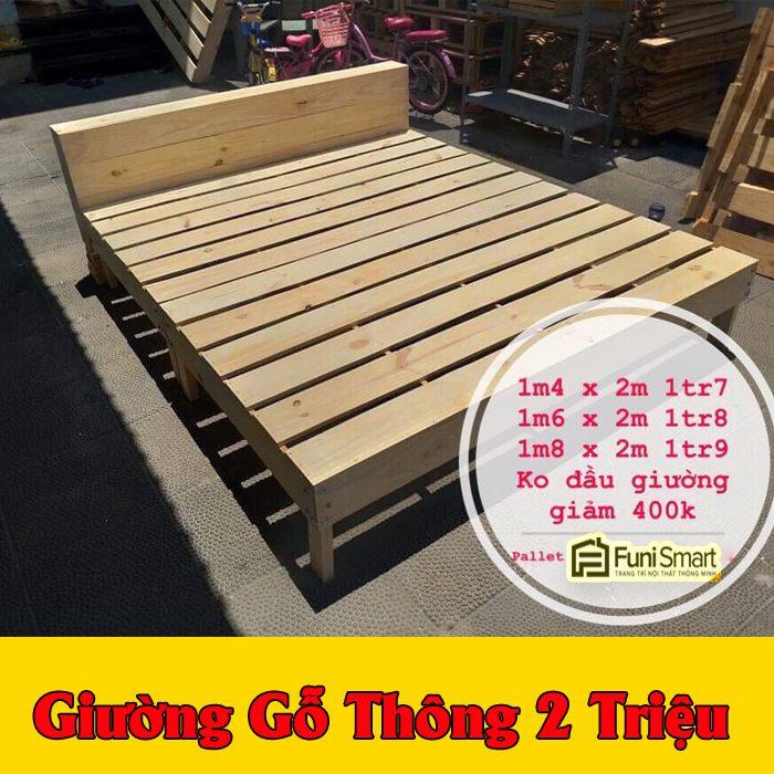 Giường gỗ thông giá rẻ 2 triệu