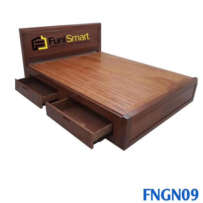 Giường gỗ tự nhiên có ngăn kéo mã FNG 09
