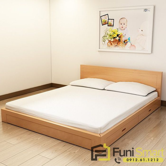 Giường ngủ gỗ mdf giá rẻ Funismart FNGN03