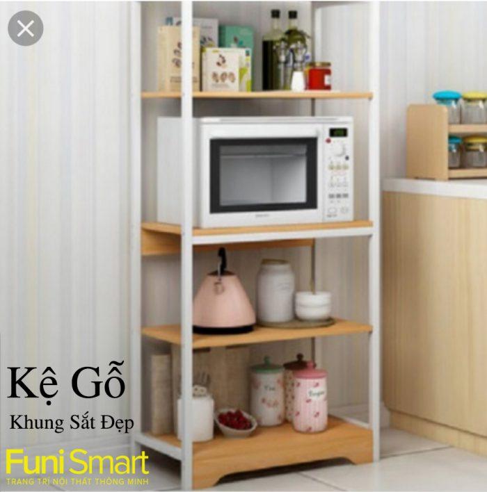 Kệ gỗ khung sắt đẹp KG01 trang trí phòng khách