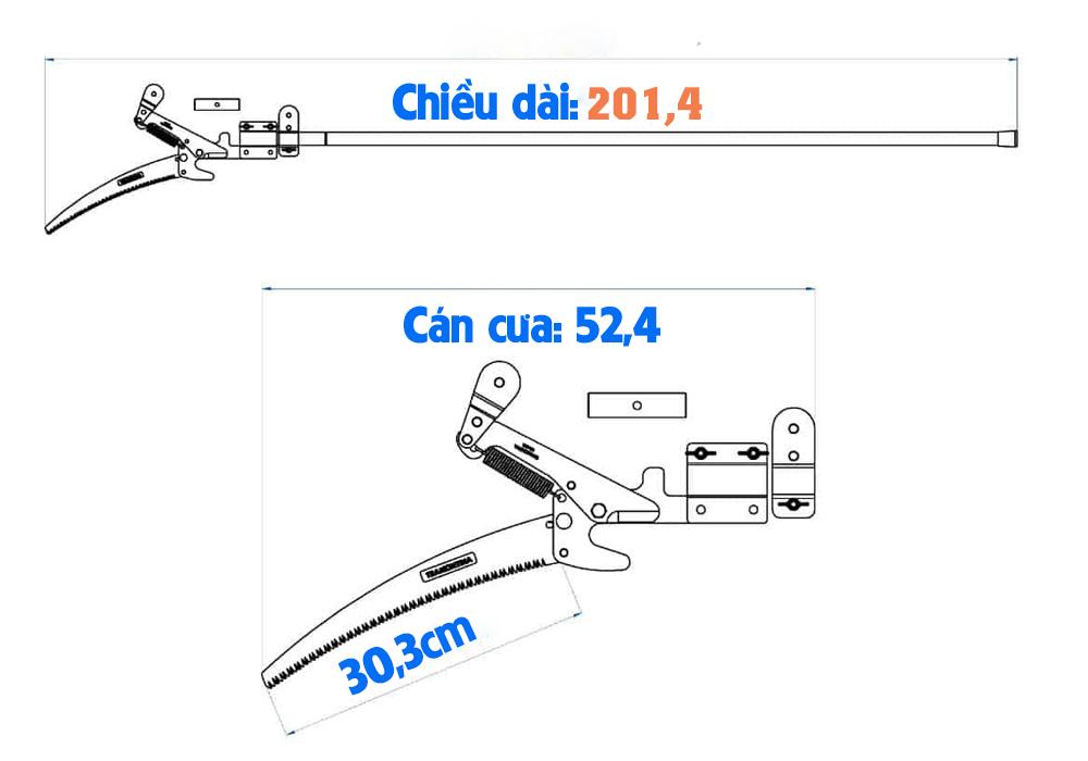 Kích thước cưa cắt cành trên cao Tramontina fnccc01