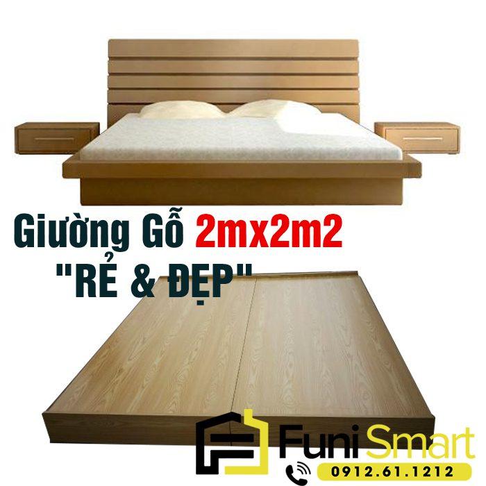 Mẫu giường gỗ 2mx2m2 giá rẻ Funismart FNGN15