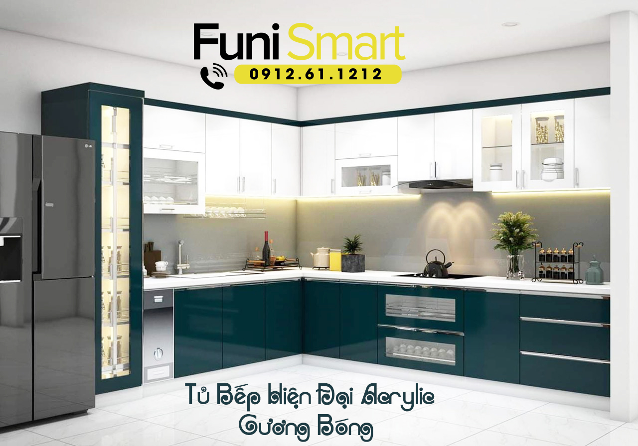 Chi tiết hình ảnhMẫu tủ bếp hiện đại tiện dụng FNTB05 Chất Liệu Gỗ MDF Phủ Acrylic Gương Bóng