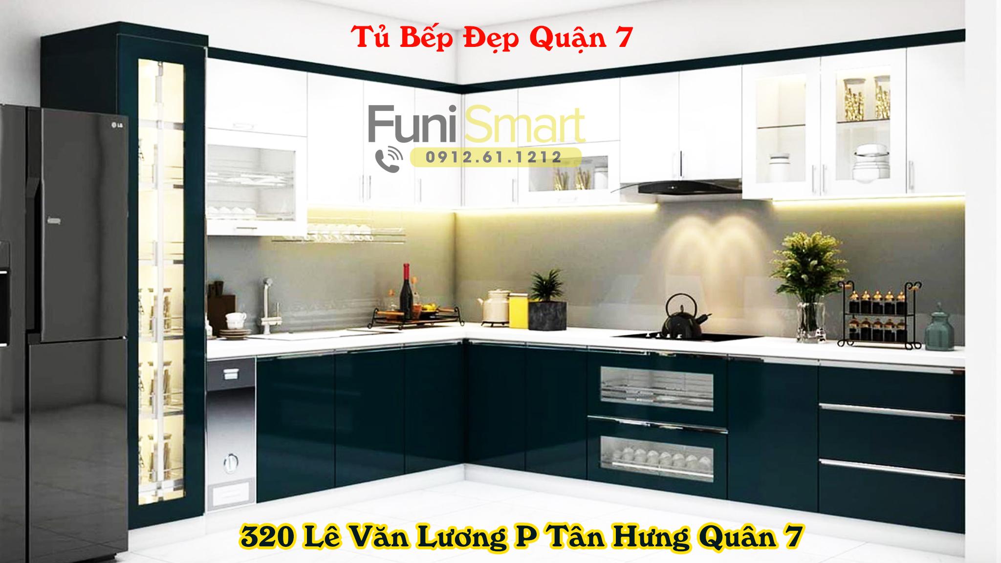 Tủ bếp đẹp quận 7 uy tín Funismart
