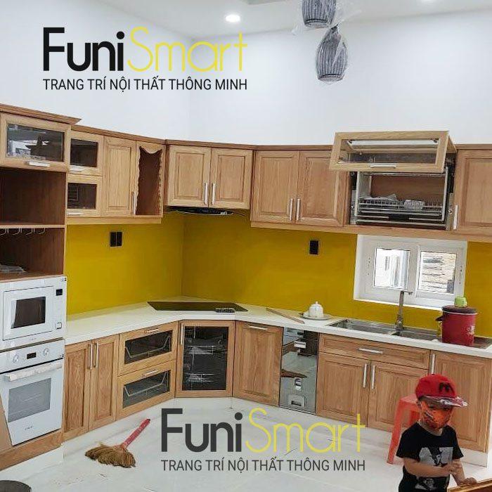 Tủ bếp gỗ sồi Mỹ tự nhiên FNSM01