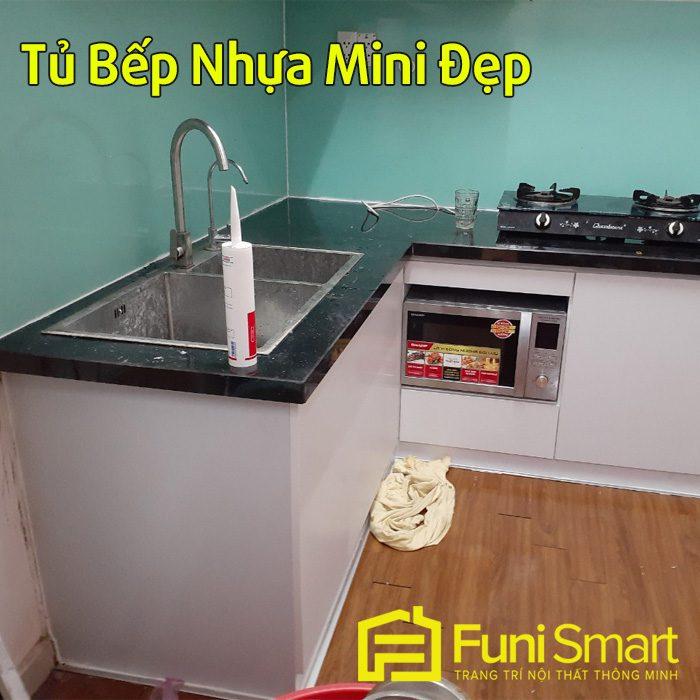Tủ bếp nhựa mini hiện đại FNTB056