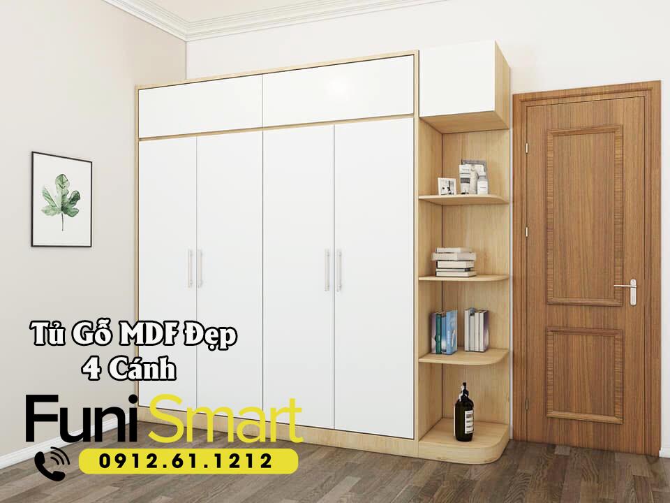 Tủ Gỗ MDF 4 Cánh Đẹp Giá Tốt