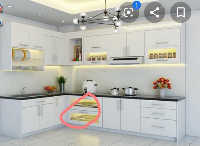 Ví dụ ủ bếp mdf phủ melamine giá rẻ
